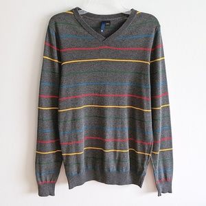 H&M Gray Rainbow Stripe Lightweight V Neck Sweater